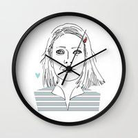 tenenbaum Wall Clocks featuring Margot tenenbaum / The royal Tenenbaum by Colomina Maevi