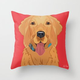 Golden Retriever Art Poster Dog Icon Series by Artist A.Ramos. Designed in Bold Colors. Throw Pillow