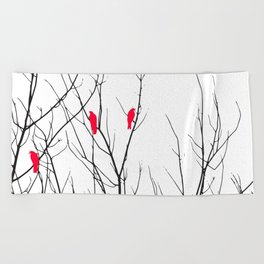 Artistic Bright Red Birds on Tree Branches Beach Towel