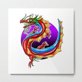 Chinese Dragon In The Moonlight Metal Print