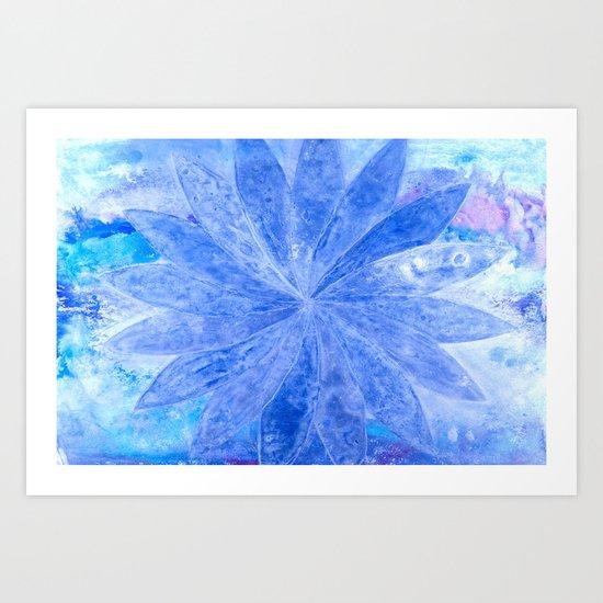 ABSTRACT BLUE DAISY Art Print