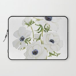 white anemone flower  watercolor painting Laptop Sleeve