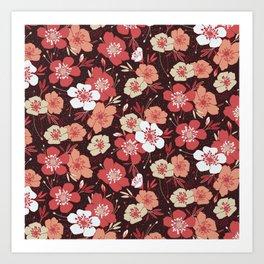 Coral flower pattern Art Print