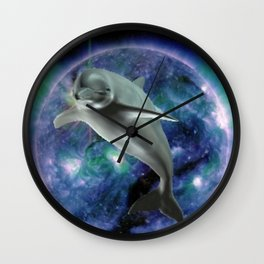Space dolphin Wall Clock