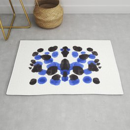 Blue And Black Ink Blot Pattern Rug