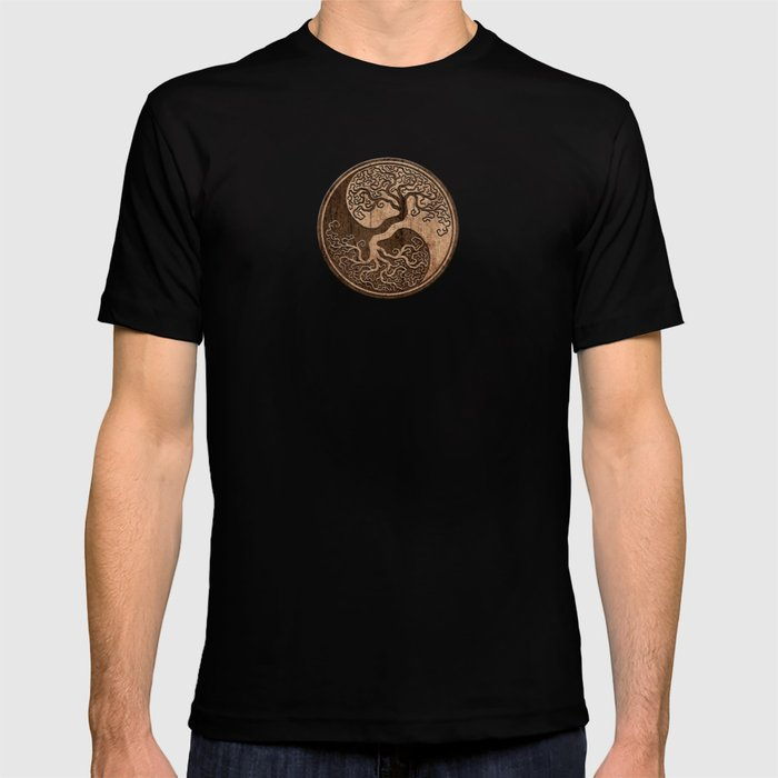 Rough Wood Grain Effect Tree of Life Yin Yang T-shirt