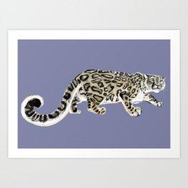 Snow leopard in purple Art Print