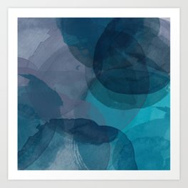 Abstract Watercolor Circles in Ombre Blue Art Print