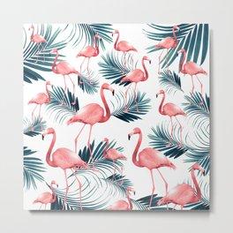 Summer Flamingo Palm Vibes #1 #tropical #decor #art #society6 Metal Print