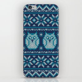 Owls winter knitted pattern iPhone Skin