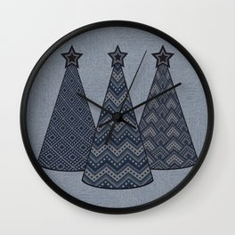 Christmas trees 2  denim photocollage Wall Clock