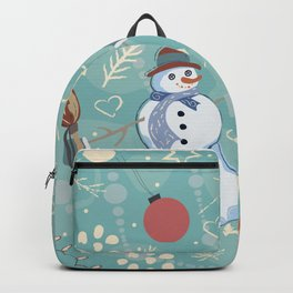 Seamless Winter Pattern with Christmas Ornaments Backpack