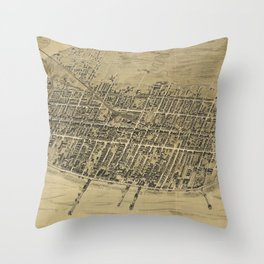 Vintage Pictorial Map of Atlantic City NJ (1900) Throw Pillow