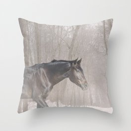 Bubba in the snow Throw Pillow
