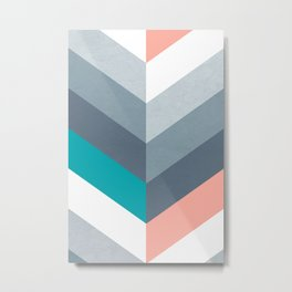 Vertical Chevron Pattern - Teal, Coral and Dusty Blues #geometry #minimalart #society6 Metal Print