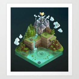 Isometric Board Game World (dark background) Art Print