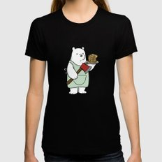 Ice Bear likes pancakes MEDIUM Black Womens Fitted Tee
