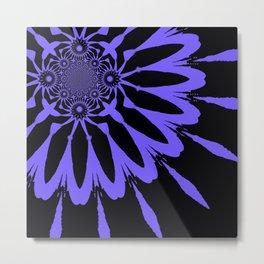 The Modern Flower Black and Periwinkle Purple Metal Print