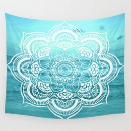 Mandala : Aqua Sunset Waters Wall Tapestry