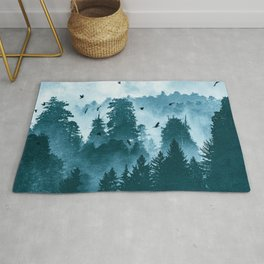 Redwood Forest Teal Adventure - National Parks Nature Photography Rug