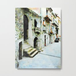 Car parked in an alley of the historic center Metal Print