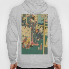 Spring Outing In A Villa Diptych #2 by Toyohara Kunichika Hoody