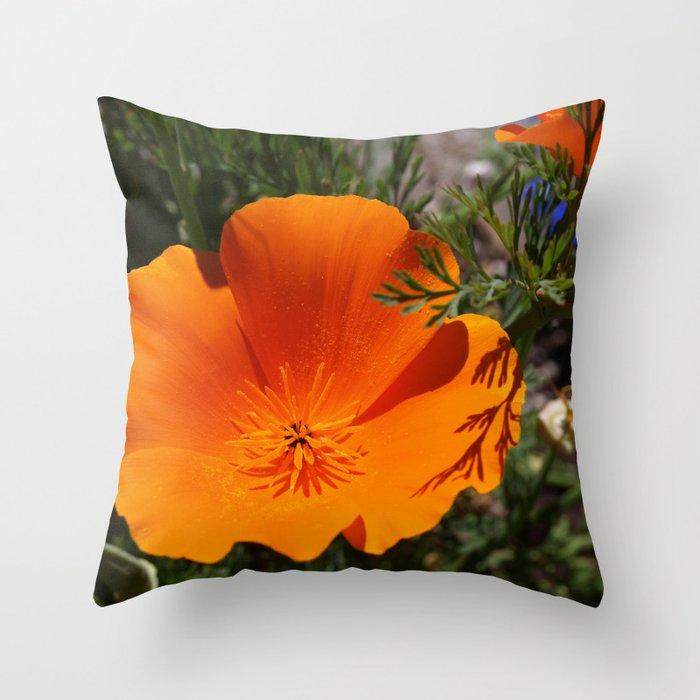 Brilliant California Poppy Throw Pillow