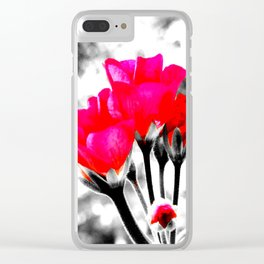 Hot Pink Flowers Pop Of Color Clear iPhone Case