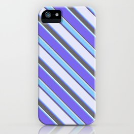 Medium Slate Blue, Dim Gray, Lavender & Light Sky Blue Colored Stripes/Lines Pattern iPhone Case