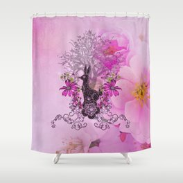 Funny easter bunny with flowers Shower Curtain
