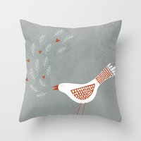 la Throw Pillows featuring La la la by Nic Squirrell