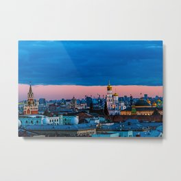 Moscow Sunset With An UFO Metal Print