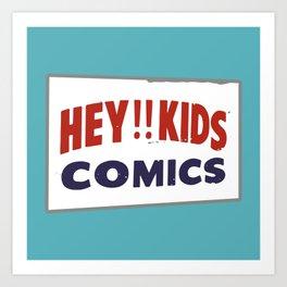 Hey Kids! Vintage Comic Spinner Rack Sign Art Print