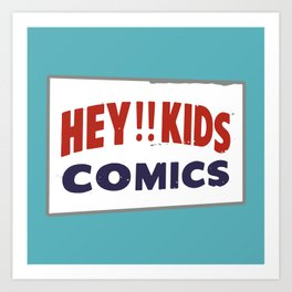 Hey Kids! Vintage Comic Spinner Rack Sign Art Print