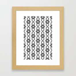 Japanese yukata geometric line pattern in grey Framed Art Print