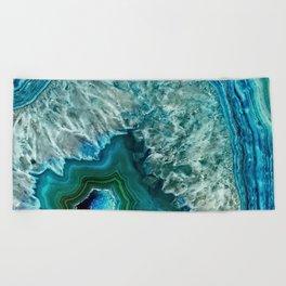 Aqua turquoise agate mineral gem stone - Beautiful Backdrop Beach Towel