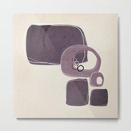 Retro Abstract Design in Mauve and Aubergine Metal Print