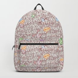 Seamless pattern world crowded with funny cats Backpack