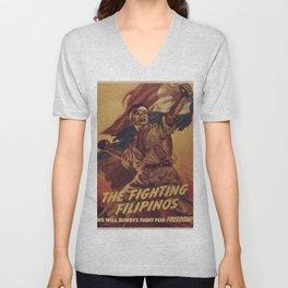 Vintage poster - The Fighting Filipinos Unisex V-Neck