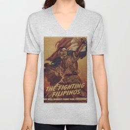 Vintage poster - The Fighting Filipinos Unisex V-Neck