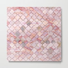 Moroccan Pattern in Marble and quartz crystal Texture Metal Print