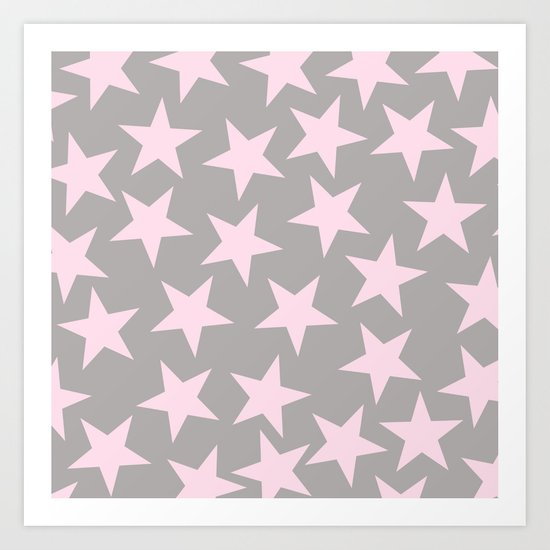 Pink stars on grey background on #Society6 Art Print