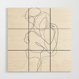 Lovers - Minimal Line Drawing Wood Wall Art