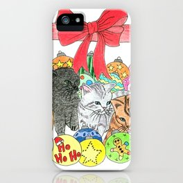 Christmas kittens iPhone Case