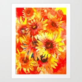 Blanket Flowers Bright Orange, Red, Yellow Flowers Art Print