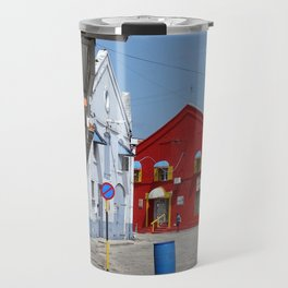 A red warehouse Travel Mug