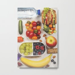 Healthy lunch box with sandwich and fresh vegetables Metal Print