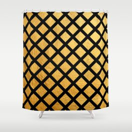 Black and Gold Geometric Pattern Shower Curtain