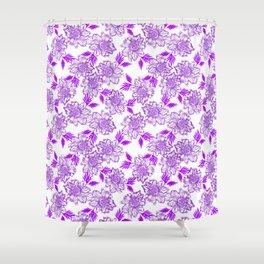 Delicate elegant classy feminine floral pattern. Purple blooming flowers, little leaves. Plants Shower Curtain