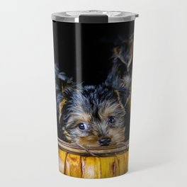 Halloween Pumpkin Basket Filled with Five Yorkshire Terrier Puppies Travel Mug